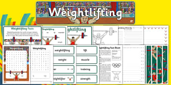 Rio 2016 Olympics Weightlifting Resource Pack - weightlifting, lifting, weights, Olympics, Olympic Games, sports, Olympic, London, pack, resource, resources, 2012, activity, Olympic torch, medal, Olympic Rings, mascots, flame, compete, events, tennis