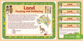 Indigenous Food Hunting and Gathering Posters - Traditional Aboriginal Lifestyle