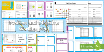 LKS2 Position and Direction Working Wall Display Pack - maths display, classroom display, quadrant, coordinate, co-ordinate, polygon, translate, translation