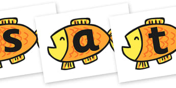 Phase 2 on Fish to Support Teaching on Brown Bear, Brown Bear - brown bear, phase two, phase 2, letters, literacy, sounds, english, themed letters, phase two images