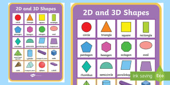 2D and 3D Shapes Poster - 2d shapes, 3d shapes, poster, display