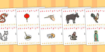 Chinese New Year Alphabet Strips - australia, alphabet, strip