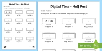 Digital Time – Half Past Worksheet / Activity Sheet - NI KS1 Numeracy, time, digital, half past, clock, home learning