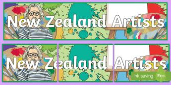 New Zealand Artists Display Banner - the arts, artists, art, new zealand, decades, Dick Frizzell, influential, pop art, style