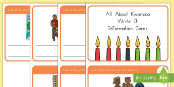 All About Kwanzaa Write It Information Cards - Kwanzaa,usa , kwanzaa information cards