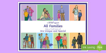 All Families Are Unqiue and Special A4 Display Poster Arabic/English - young people, families, relationships, stereotypes, same sex parenting, EAL, Arabic.,Arabic-translat