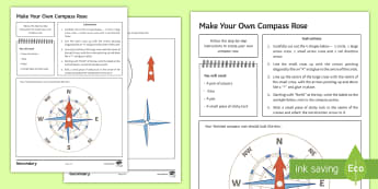 Make Your Own Compass Rose Activity Sheet - direction, map work, introduction, creative, route planning, homework