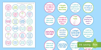 NI Thinking Skills and Personal Capabilities Being Creative Stickers - comments, targets, curriculum, marking, statements, Northern Ireland