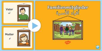 Deutsch-Arabische Familienmitglieder PowerPoint - Deutsch lernen, Deutsch-Arabische Materialien, Deutsch Arabische Materialien, Deutsch Arabische Lehr
