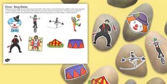 Circus Story Stone Image Cut Outs - Story stones, stone art, painted rocks, storytelling