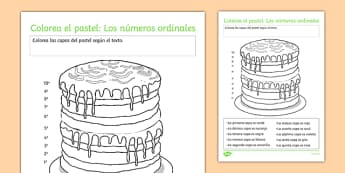 Colorea el pastel: Los números ordinales Ordinal Numbers Worksheet / Activity Sheet Spanish - spanish, Ordinal numbers, números ordinales, ficha, worksheet, colours