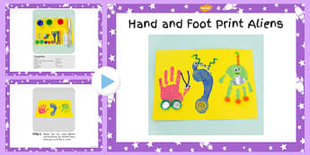 Hand And Foot Print Aliens Craft Instructions PowerPoint - space
