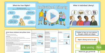 British Values Individual Liberty Assembly Pack - myself, freedom, the right to an opinion, having a voice, my views