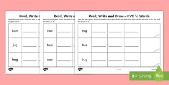 Read, Write and Draw CVC 'u' Words Activity Sheet - Phonics, Initial sounds, Blending, Sounding Out, Assessment,Irish, Worksheet
