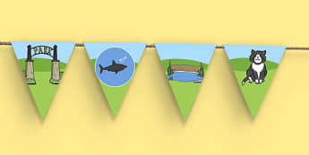 Is That a Shark? Display Bunting - is that a shark, shark in the park, Nick Sharratt, storybook, display bunting