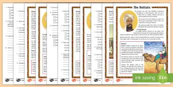 3-6 Ibn Battuta Differentiated Reading Comprehension Activity - Australian Curriculum, HASS, The journey(s) of AT LEAST ONE world navigator, explorer or trader up t