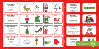 What Am I? Advent Guessing Game - SLCN, receptive delay, Advent,  expressive delay, Christmas, inferencing , inference, guess, what am