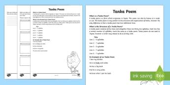 Tanka Poem Writing Template - Literacy, Interpreting, analysing, evaluating, english, poetry, writing, poems, poetry, tanka, gloss