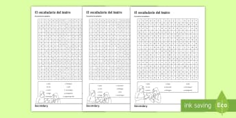 Theatrical Devices Differentiated Word Search Spanish - literature, theatre, drama, cinema, actor, actress, spelling, key, vocabulary