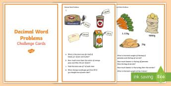 Decimal Word Problems Challenge Cards - Decimals, Word problems, Challenge Cards, Early Finishers, Answer cards,Irish