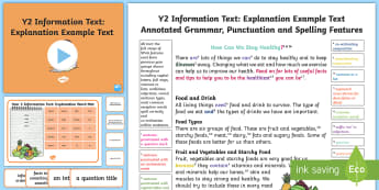 Y2 Information Texts: Explanation Model/Example Text - Example Texts Y2, Explanation, WAGOLL, moderation, exemplification, SATs, moderating, non-fiction, ARE, age-related example, model, model text, age-related model