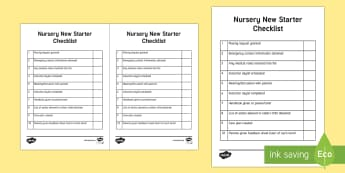 Nursery New Starter Checklist - Requests CfE, nursery, early years, checklist, key worker, parents, new class, new starters, Scottis
