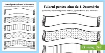 Fularul pentru 1 Decembrie Decorează și colorează - ziua națională a României, ziua națională, 1 Decembrie, fular, decorat, tricolor, a decora, mat