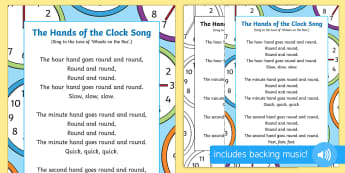 The Hands on the Clock Song - singing time, song, action rhymes, hands, clock, watch, telling the time, early maths