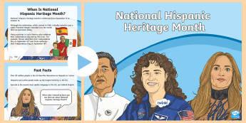 National Hispanic Heritage Month PowerPoint - Latino, Hispanic, Spanish, diversity, cultural appreciation, mexico, latin america