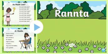 Rhymes (Rannta) PowerPoint Gaeilge - rannta, dannta, rhymes, poems, gailge, irish
