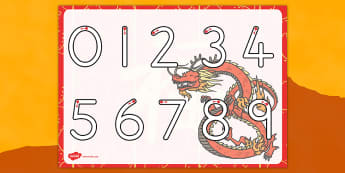 Chinese New Year Themed Number Writing Worksheet - australia