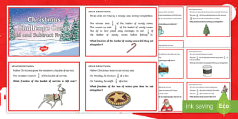 LKS2 Add and Subtract Fractions Christmas Challenge Cards - Y3, Year 3, Y4, Year 4, Maths, Word Problems, reasoning, problem solving