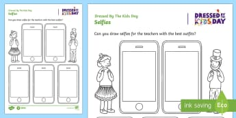 Dressed by the Kids Day Selfies Activity Sheet - oxfam, organised events, charity day, special event, worksheet
