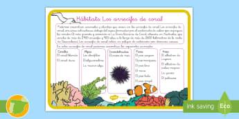 Hoja informativa: Hábitats - Los arrecifes de coral - animales, clasificación, hábitats, corales, arrecife de coral, peces