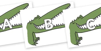 A-Z Alphabet on Enormous Crocodile to Support Teaching on The Enormous Crocodile - A-Z, A4, display, Alphabet frieze, Display letters, Letter posters, A-Z letters, Alphabet flashcards