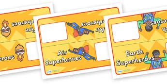 Editable Superhero Group Table Signs - superhero, group, table, signs