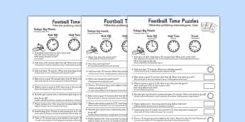Football Themed Differentiated Time Activity Sheets Polish Translation - polish, football, euro 2016, worksheet