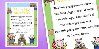 This Little Piggy Nursery Rhyme Poster - rhymes, display, poems