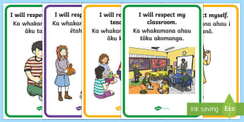 Respect in the Classroom Display Posters Te Reo Māori - Respect in the Classroom, Display Posters, Whakamana, Whanaungatanga i te Akomanga, Te reo Māori