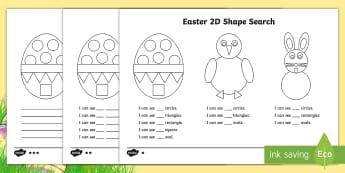 Easter 2D Shape Search Worksheet / Activity Sheet - 2D shapes, Easter, Easter bunny, Easter chick, Easter eggs,Worksheet, Easter colouring, Easter maths