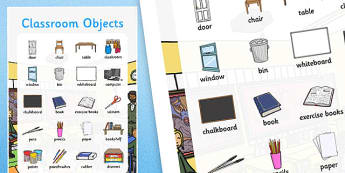 Classroom Objects Large Display Poster - ESL Classroom Vocabulary