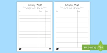 Estimating Weight Activity Sheet - weight, measures, grams, kilograms, scales, mass
