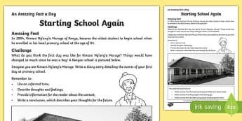 Starting School Again Activity Sheet, worksheet