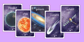 În spațiu - Planșe cu imagini și cuvinte - spațiu, cosmos, fotografii, A4, planete, în spațiu, univers, stele, planșe, imagini, cuvinte, materiale didactice, română, romana, material, material