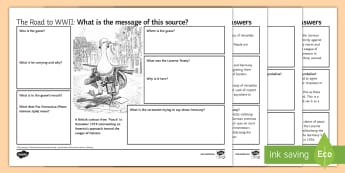 Re-militarisation of the Rhineland Source Analysis Worksheet / Activity Sheet - gcse, history, Re-militarisation rhineland, causes world war two, goose step, german army, nazi fore