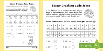 Easter Joke Addition Code Breaker Activity Sheet - NI, Easter, addition, code, joke, maths, numeracy, easter, lent, jokes, code breaking, code cracker
