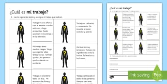 Guess the Job Activity Sheet Spanish - Spanish Vocabulary, jobs, activity, sheet, guess, reading, writing, worksheet