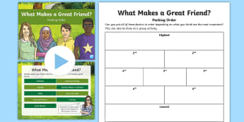 Pecking Order What Makes a Good Friend? Activity Pack - Pecking Order, Diamond 9, Listening and Talking, prioritisation tasks, discussion points, second lev