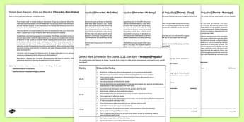 Pride and Prejudice Mini Exam Pack