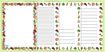 Fruit And Vegetables Themed A4 Page Border - food, fruit, vegetables, page border, writing borders, A4, border, good eating, healthy snack, snack, independent writing, apple, banana, carrot, potato, tomato
